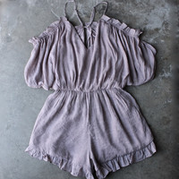 crinkled peek a boo shoulder romper with ruffle hem in mauve