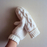 Cable Knit Mittens Gloves Fleece Lining Women Winter Accessories Traditional Aran Design Ideas Under 50