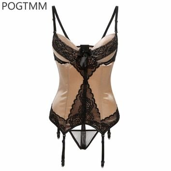 Lady Sexy Shaped Corset Hot Body Shaper Slimming Women Floral Lace Waist Cincher Trainer Bustier Girdle With Garter Belt XXL
