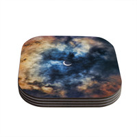 "Bruce Stanfield ""Night Moves"" Blue Orange Coasters (Set of 4)"