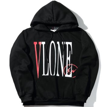 Vlone autumn and winter new classic logo men and women couple sweater jacket Black