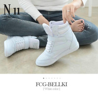 2016 autumn and winter high heels ankle boots women casual shoes increased the wedge heel wedge shoes high-top mixed