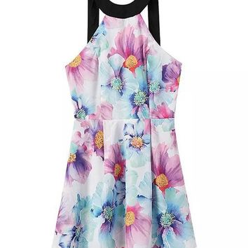 Streetstyle  Casual Crew Neck Back Hole Floral Printed Skater Dress