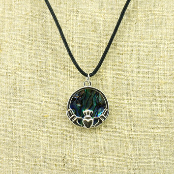 Abalone Claddagh Necklace