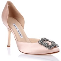 Hangisido nude satin d'orsay pump Manolo Blahnik - Designer Shoes at ShopSavannahs.com
