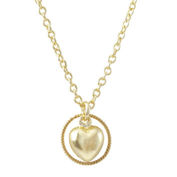 Gold Plated Brass Puffy Heart Charm In Braided Circle, Gold Plated Brass Chain Necklace