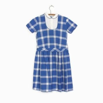 Vintage 50s Girl's Dress / 1950s Little Girl's Blue & White Plaid Print Cotton Dress Kids 10 - 12