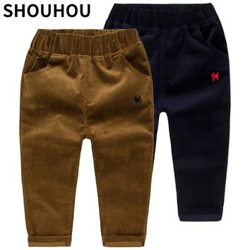2017 SHOUHOU Children Clothes Corduroy Trousers Boys Spring Autumn Animal Print Trousers Casual Outwear Trousers Kids Clothing