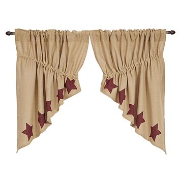 Burlap with Burgundy Stars Prairie Swag Curtains