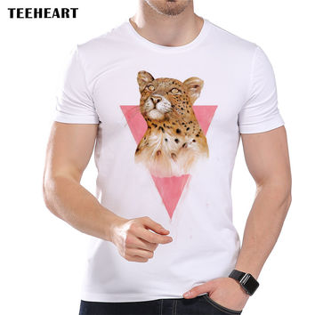 Summer Harajuku Pink Leopard Print Design T Shirt Men's High Quality  Cool Tops Hipster Tees