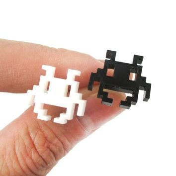 Atari Space Invaders Pixel Alien Shaped Laser Cut Stud Earrings in Black and White