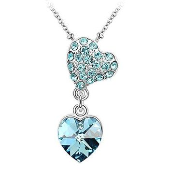 SHIP BY USPS: Le Premium Couple Hearts Crystal Pendant Necklace Heart Shaped SWAROVSKI Aquamarine Blue stone