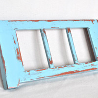Triple Picture Frame in Distressed Turquoise