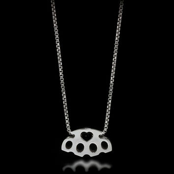Brass Knuckle Slider Necklace - Sterling Silver