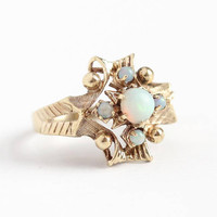 Vintage Opal Ring - Retro 10k Rosy Yellow Gold Genuine Gem Cabochon Cluster - Size 5 Victorian Revival 1950s Esemco Statement Fine Jewelry