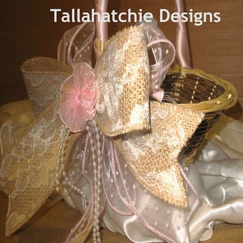Rustic Flower Girl Basket Burlap Flower Girl Basket Burlap and Lace Flower Girl Shabby Chic Flower Girl Basket