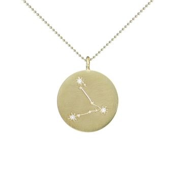Gold Zodiac Pendant with Diamonds - Pisces