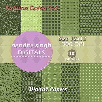 Autumn Coloured Instant Downloadable Digital Papers,Scrapbooking,Backgrounds,Patterned Papers,Craft,Fall,Green,Personal and Commercial Use