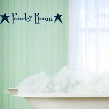 Powder Room with Primitive Stars Vinyl Wall Words Decal Sticker