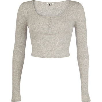 River Island Womens Grey marl rib long sleeve crop top