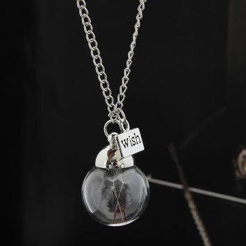 Wish Bottle Necklace Real Dandelion Seeds Botanical Round Bottle Pendant Necklace Long Chain Jewelry Best Friend Gifts