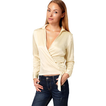 Women Shirt Plunge V Neck Solid Blusas Femininas Long Sleeve Side Tie Crop Top Strap Sexy Blouse Tops PinkBeige SM6