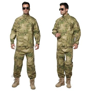 Men Jungle Outdoor Tactical Military Combat Uniform Camouflage Suit Hunting Long Sleeve Jacket Long Pants Trousers Set Clothing