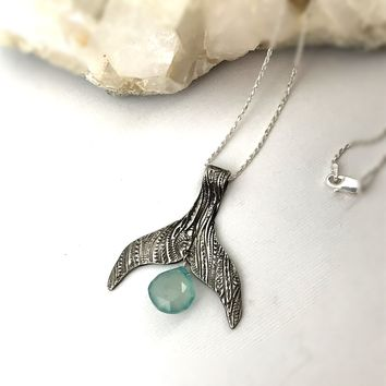 Fine Silver Nautical Whale Tail Necklace with Aqua Blue Chalcedony