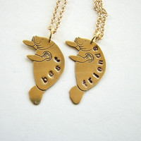 best friends manatee necklace set brass by friendlygesture
