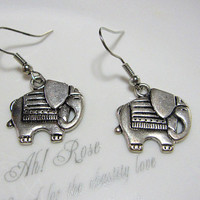 SALE: Antiqued Elephant Earrings