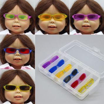 """Fashion Sunglasses Fit For 18"""" 43cm doll Baby Born zapf Doll American Girl Doll With for BJD Blyth Doll Accessories Glasses toy"""