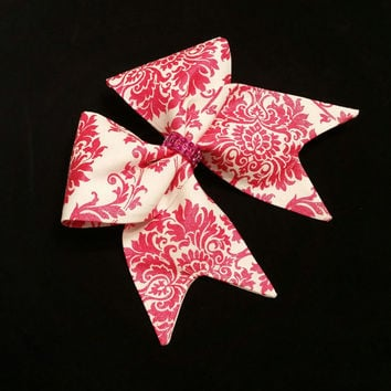 Cheer bow, All fabric cheer bow, bright pink cheer bow, glitter cheer bow, Cheerleading bow, Cheerleader bow, softball bow