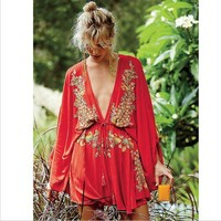 DCCKXT7 Free People' Fashion  Ethnic Embroidery Deep V Bat Sleeve Loose Mini Dress