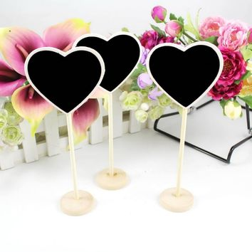 6Pcs/lot Mini Wood Chalkboard Blackboard Wooden Place Card Holder Table Number for Wedding