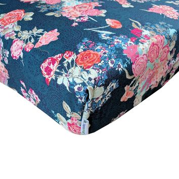 Skopelos Coral Floral Fitted Crib Sheet - Fits Standard Crib Mattresses and Daybeds