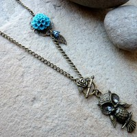 Owl Charm Necklace Vintage Style With Teal Flower & Leaf Charm | Luulla