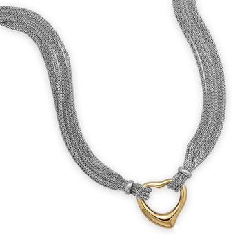 Multistrand Stainless Steel Mesh Necklace with Polished Open Heart