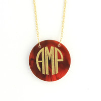 Round Acrylic Monogram Necklace ( More Colors Available)