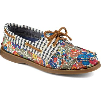 Women's Authentic Original Liberty Print 2-Eye Boat Shoe in Bright Blue by Sperry