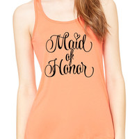 Maid Of Honor Graphic Tank Top, Flowy Tank Top, Workout Top, Gym Tank, Workout, Gym Vest, Wedding Shirt, Bridal Tank Top