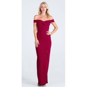 Burgundy Off-the-Shoulder Long Formal Dress with Slit