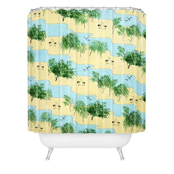Belle13 Crane River Shower Curtain