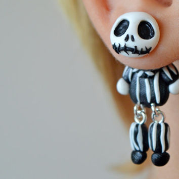 funny Skellington earrings,Halloween jewelry,skull jewelry,Halloween dangling stud,Holiday post earring,front back earring,double sided post