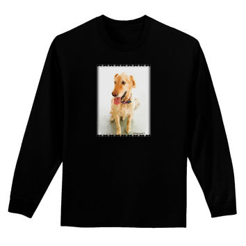 Golden Retriever Watercolor Adult Long Sleeve Dark T-Shirt