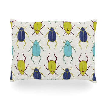 "Laurie Baars ""Beetles"" Tan Blue Oblong Pillow"