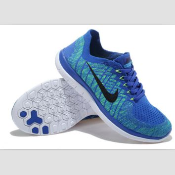 NIKE casual lightweight knitted running shoes Sapphire blue black
