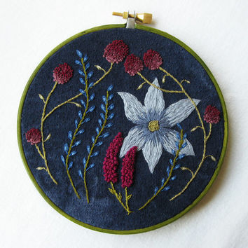 Wild Garden - Embroidery Hoop Art Wall Hanging -  Blue, Pink and Plum - 5 inch