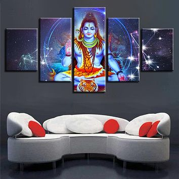 Canvas Poster Modular HD Prints Wall Art 5 Pieces Indian Religious Buddha Portrait Shiva Lord Painting Home Decor Pictures Frame
