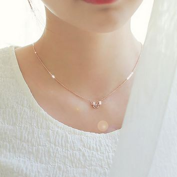 Gift Jewelry New Arrival Shiny 925 Silver Korean Simple Design Butterfly Lock Accessory Stylish Necklace [8080529287]