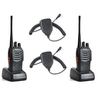 High Quality!!!Baofeng BF-888S UHF 400-470MHz 16CH CTCSS/DCS With Earpiece Handheld Amateur Radio Walkie Talkie Two Way Radio Long Range Black 2 Pack and High Quality Retevis Speaker Microphone 2 Pack